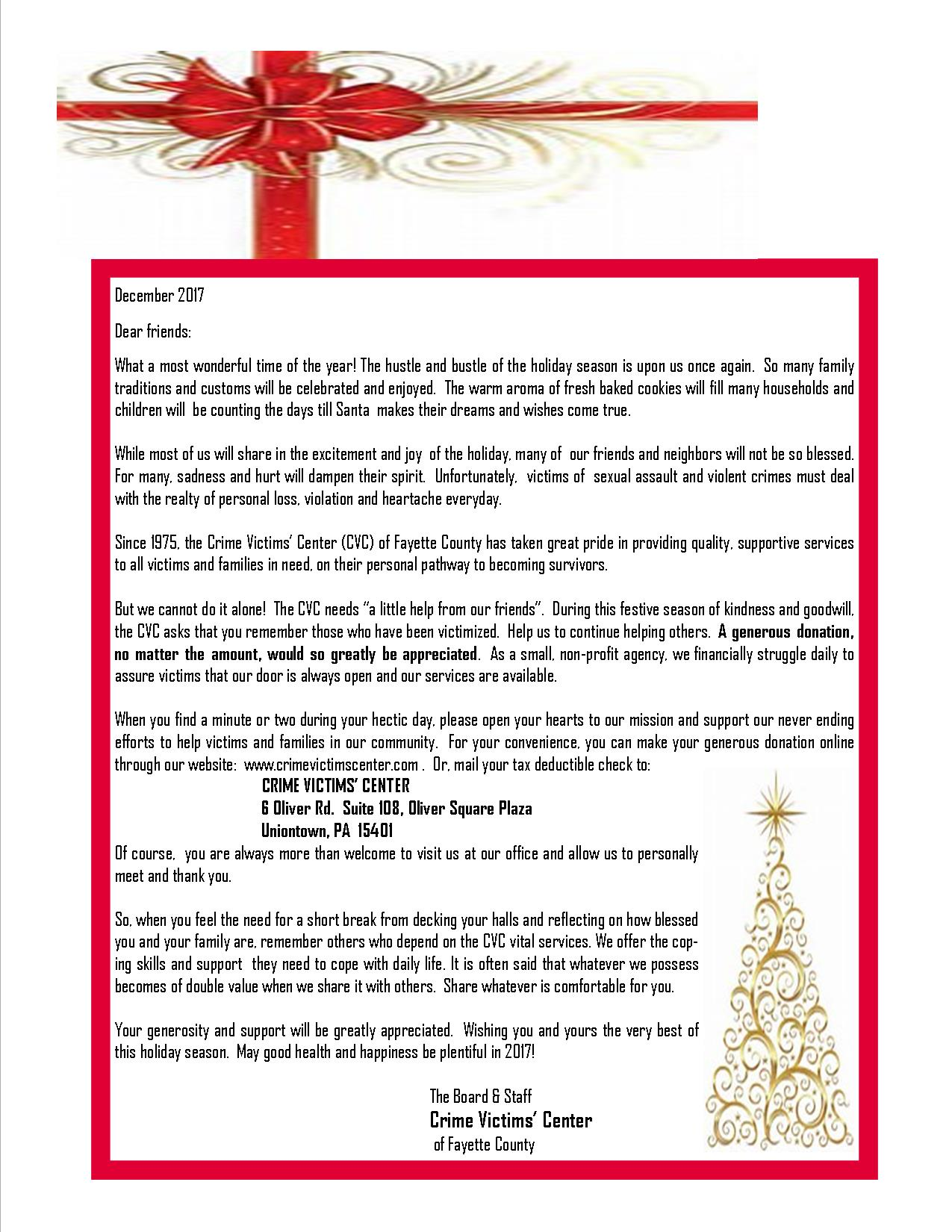 Xmas Appeal Letter Web 2017